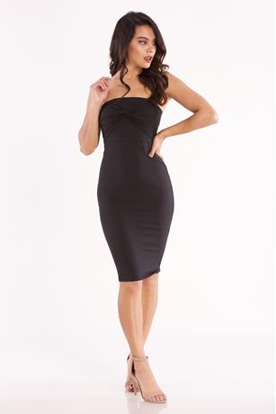 Solid Twist Front Tube Dress BLACK