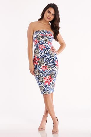 Tropical Twist Front Tube Dress  IVORY
