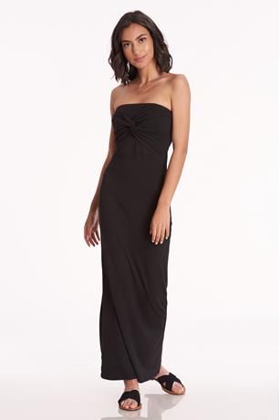 Twist Front Tube Maxi Dress BLACK