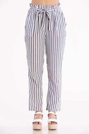 Striped Tie Waist Pants BLACK
