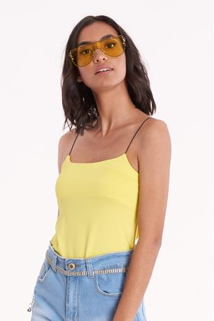 Stretch Knit Cami Bodysuit YELLOW