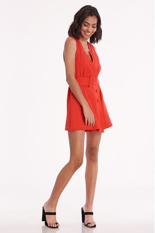 Belted Surplice Romper RED