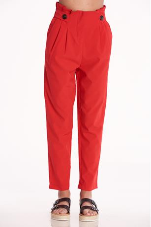 High Waist Paperbag Pants RED