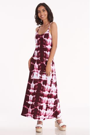 Tie Dye Cami Maxi Dress BERRY