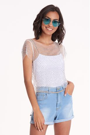 Studded Mesh Crop Top WHTIE