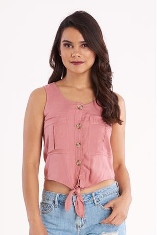Sleeveless Tie Front Shirt ROSE