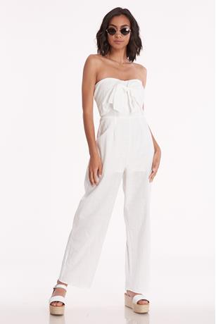 Strapless Bow Front Jumpsuit WHITE