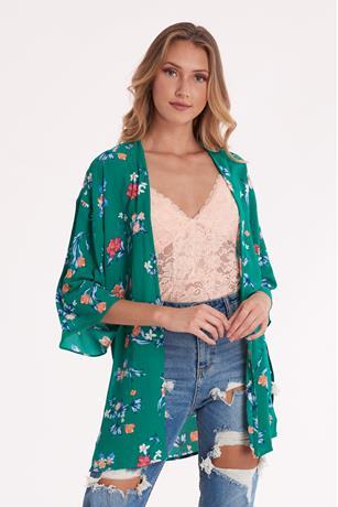 Printed Open Front Kimono GREEN