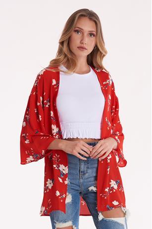 Printed Open Front Kimono RED