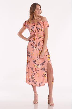 Floral Cutout Midi Dress