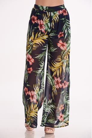 Tropical Print Pants NAVY