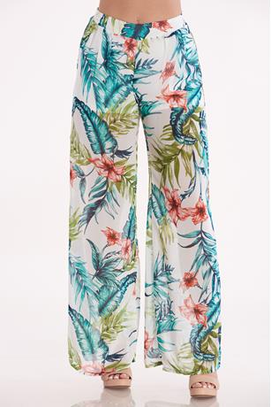 Tropical Print Pants WHTIE