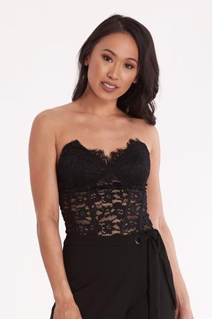 Strapless Lace Bodysuit BLACK