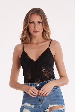 Lace V Neck Bodysuit BLACK