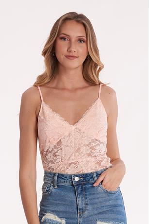 Lace V Neck Bodysuit PEACH