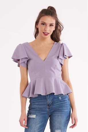 Ruffled Peplum Top LAVENDER