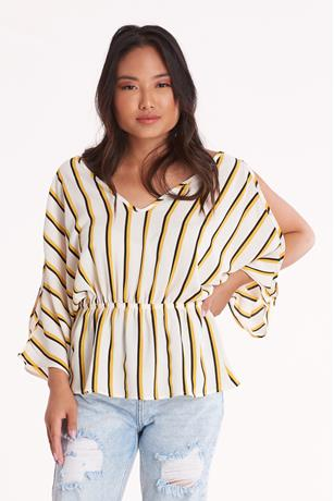 Striped Open Shoulder Peplum Top IVORY