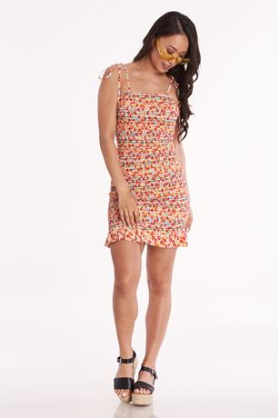 Printed Self Tie Shoulder Dress