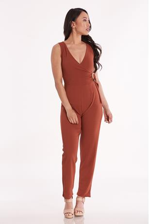 Sleeveless Surplice Jumpsuit RUST