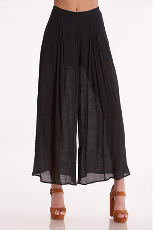 Lined Wide Leg Pants BLACK