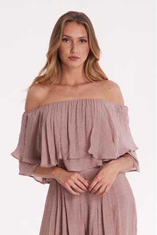 Ruffle Crop Top MAUVE