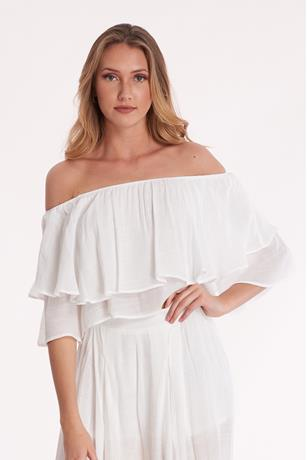 Ruffle Crop Top WHITE