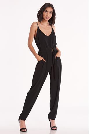 Belted Sleeveless Jumpsuit BLACK