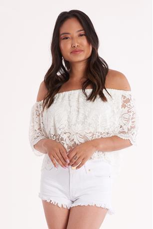 Off Shoulder Lace Crop Top WHITE