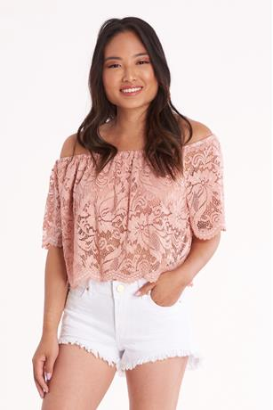 Off Shoulder Lace Crop Top MAUVE