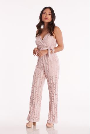 Surplice Lace Jumpsuit ROSE