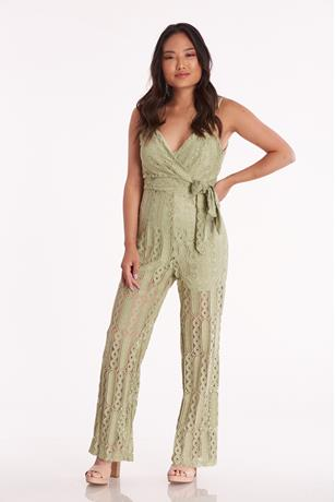 Surplice Lace Jumpsuit SAGE