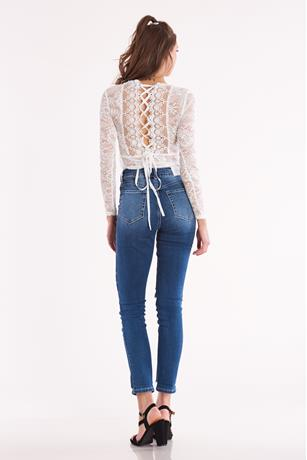 Lace Up Back Bodysuit WHITE