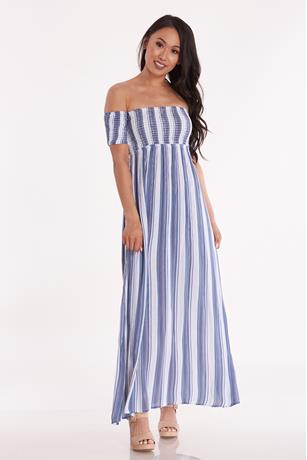 Striped Off Shoulder Maxi Dress BLUEWHITE