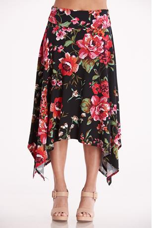 Floral Print Sharkbite Skirt BLACK