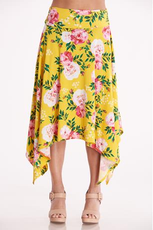 Floral Print Sharkbite Skirt YELLOW