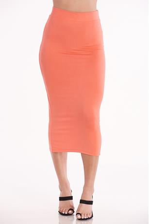 Bodycon Midi Skirt CORAL