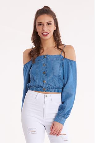 Denim Cold Shoulder Crop Top MED WASH
