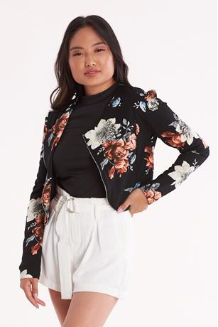 Floral Print Moto Jacket BLACK