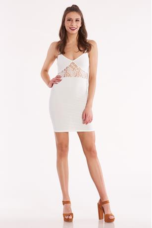 Lace Insert Mini Dress WHITE