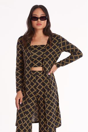 Chain Print Duster BLACK