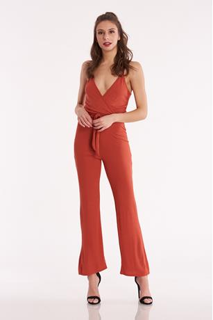 Ribbed Surplice Jumpsuit RUST