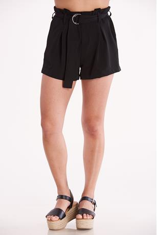 Black O-Ring Belted Shorts BLACK