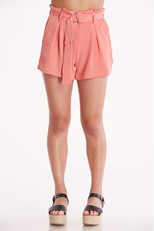 Coral D-Ring Belted Shorts