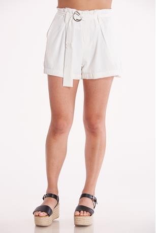 White O-Ring Belted Shorts WHITE