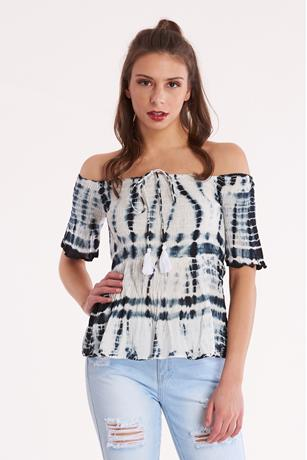 Tie Dye Smocked Top BLACK
