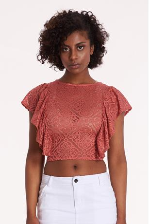 Ruffle Open Back Crop Top RUST