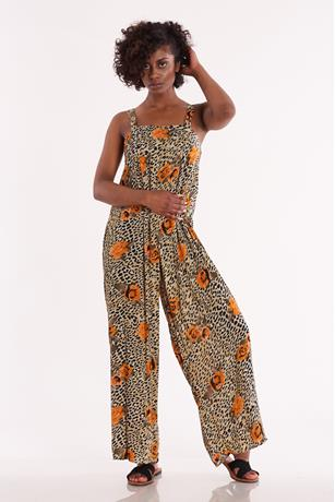 Printed Square Neck Jumpsuit MUSTARD