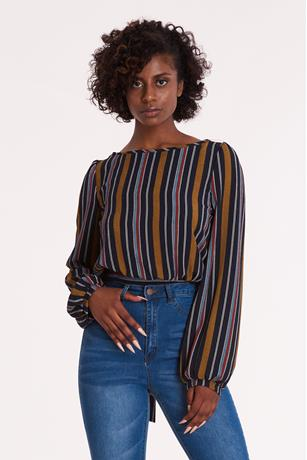 Striped Self Tie Back Shirt NAVY