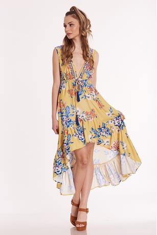 Printed Ruffle High Low Dress MUSTARD