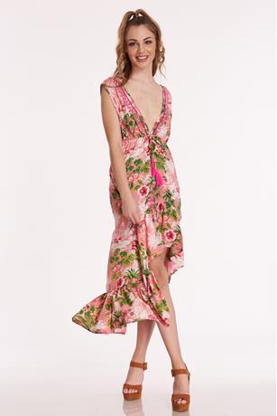 6d9c2e283e4 ... Printed Ruffle High Low Dress PINK